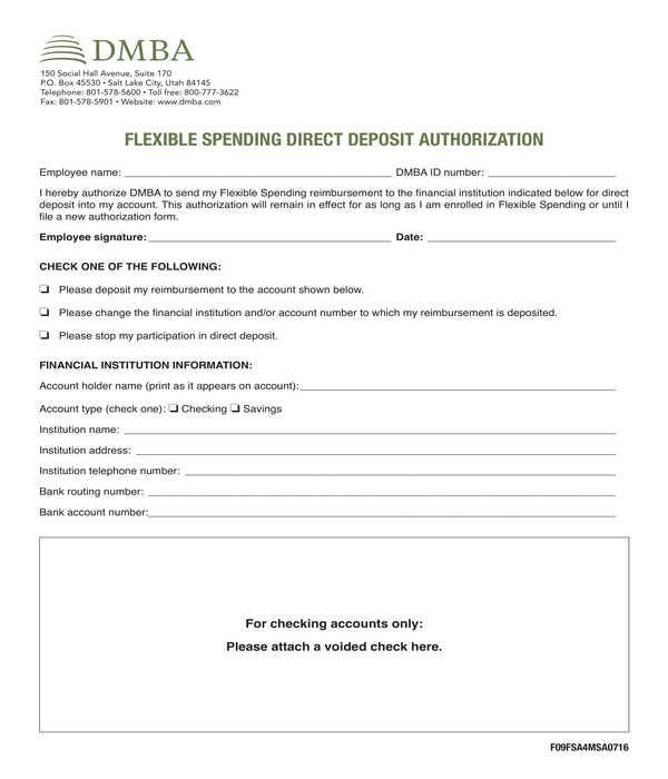 flexible spending direct deposit authorization form