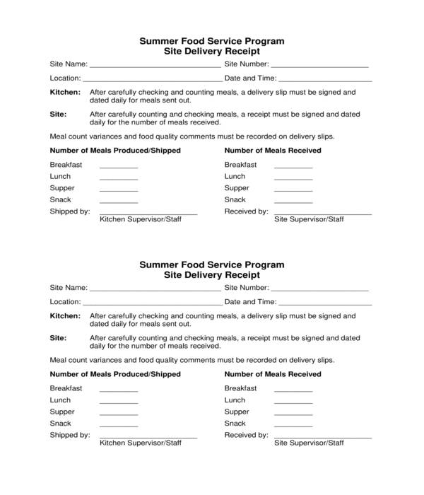 food service program site delivery receipt template form