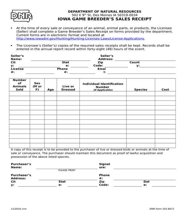 game breeders sales receipt form template