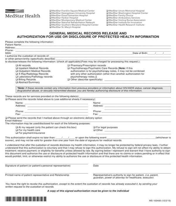 general medical records release and disclosure authorization form