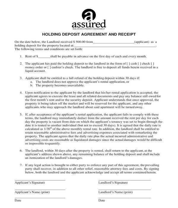 holding deposit agreement and receipt form template