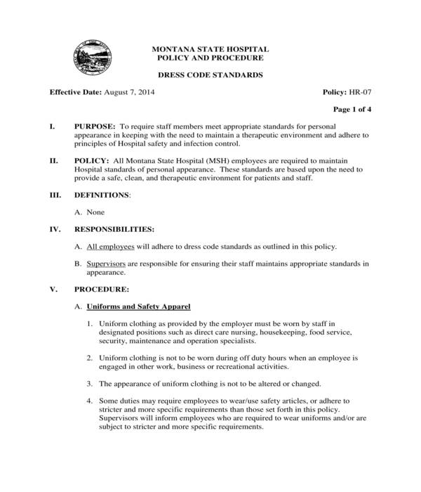 hospital employee dress code policy form