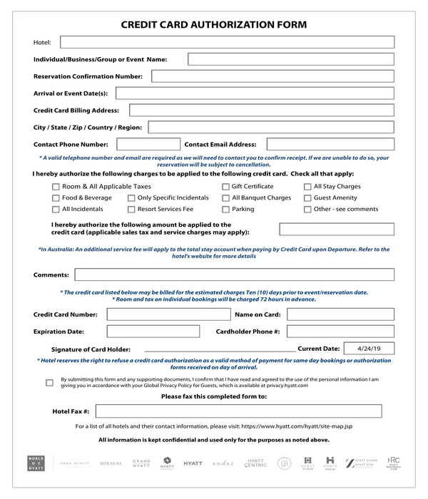 hotel branch credit card authorization form