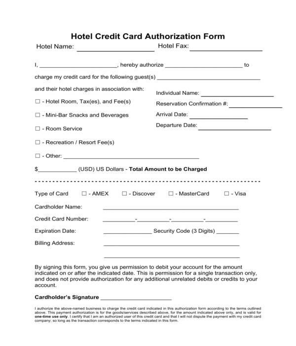 hotel credit card authorization form sample