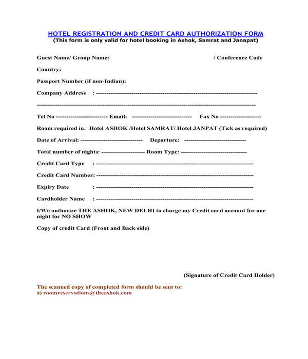 hotel registration and credit card authorization form