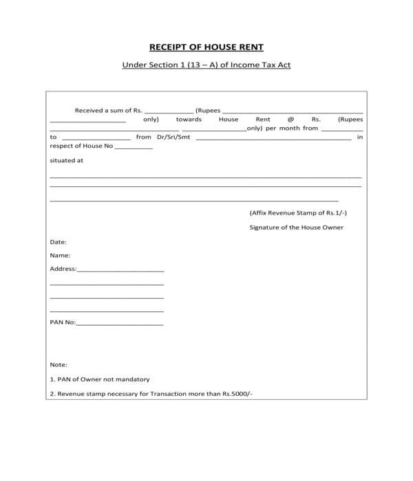 house rent receipt form template