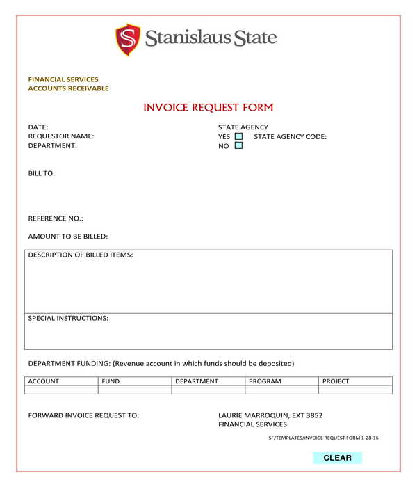 invoice request form sample