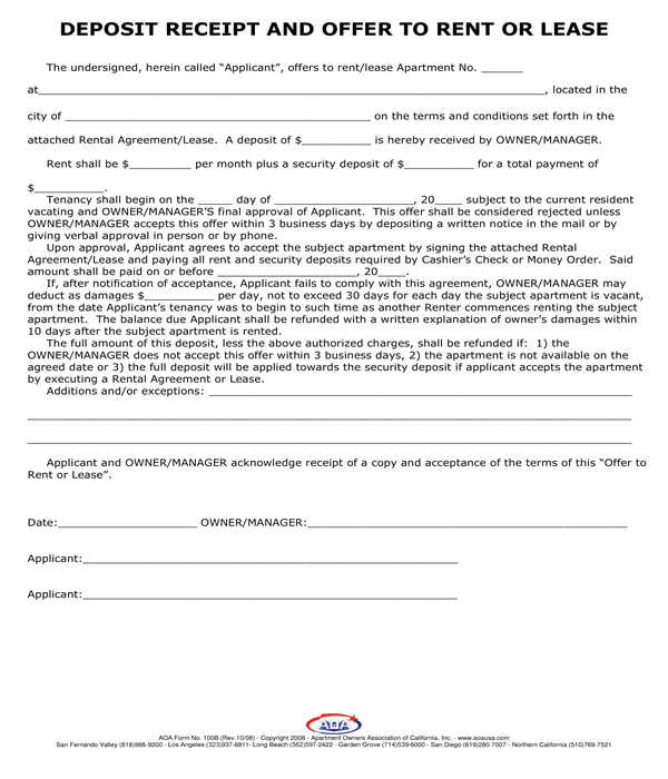 lease offer and deposit reeipt form template