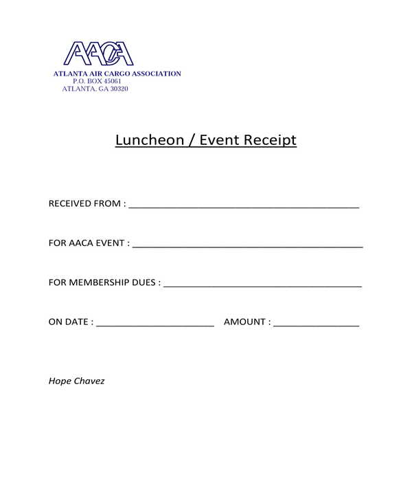 luncheon event receipt form template