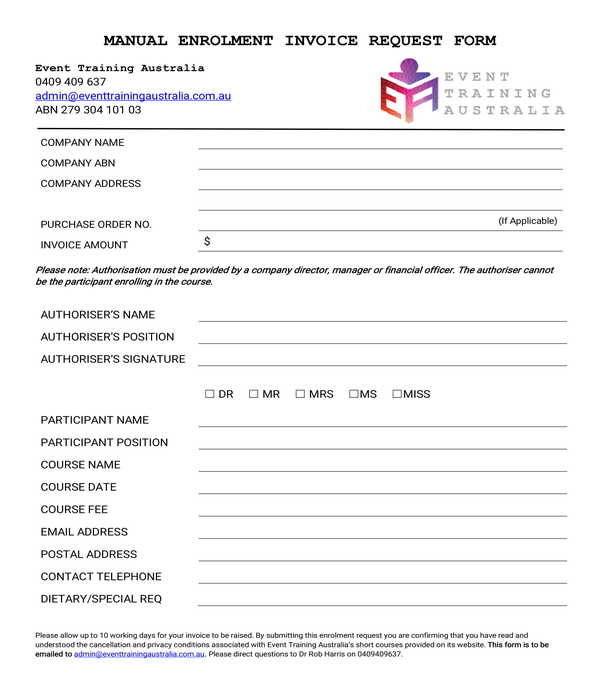 manual enrolment invoice request form