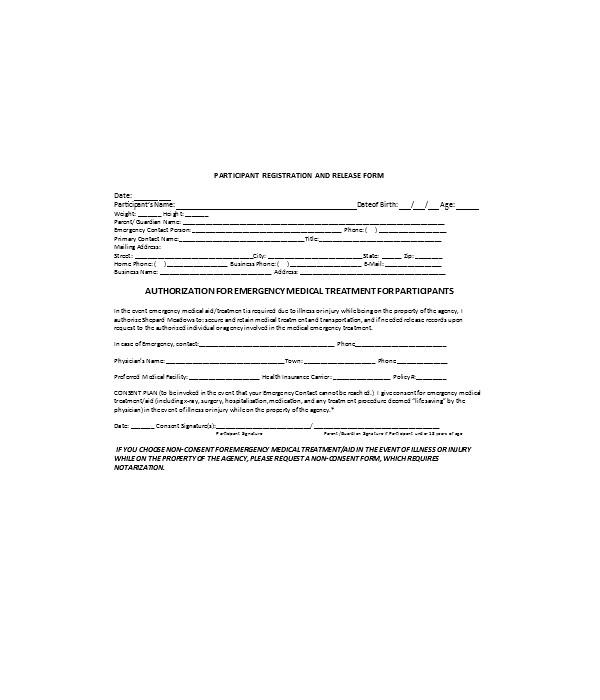 medical emergency treatment authorization form