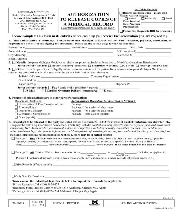 medical records copy release authorization form