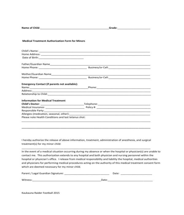 minor medical treatment authorization form