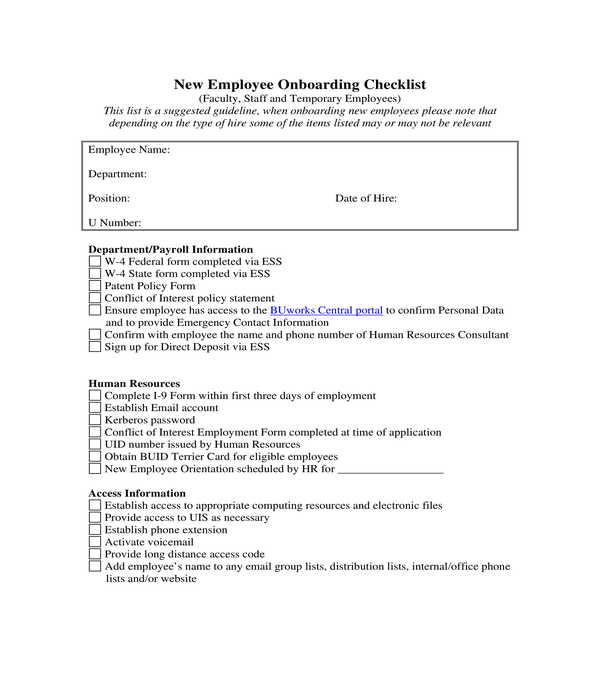 new employee onboarding checklist form