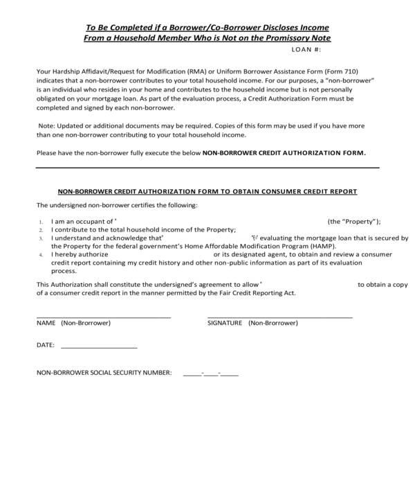 non borrower consumer credit report authorization form