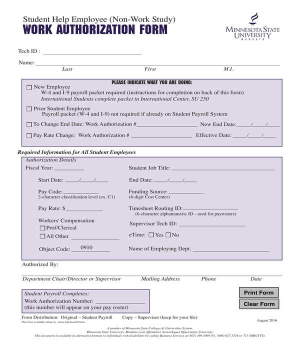 non work study work authorization form