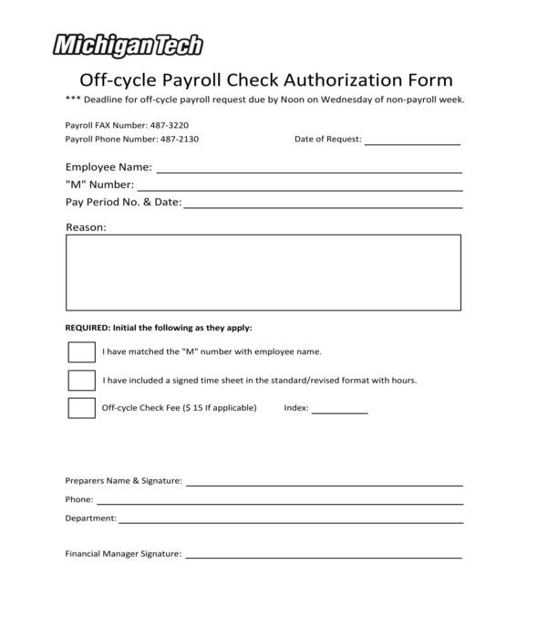 off cycle payroll check authorization form
