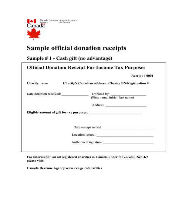 official donation receipt template form