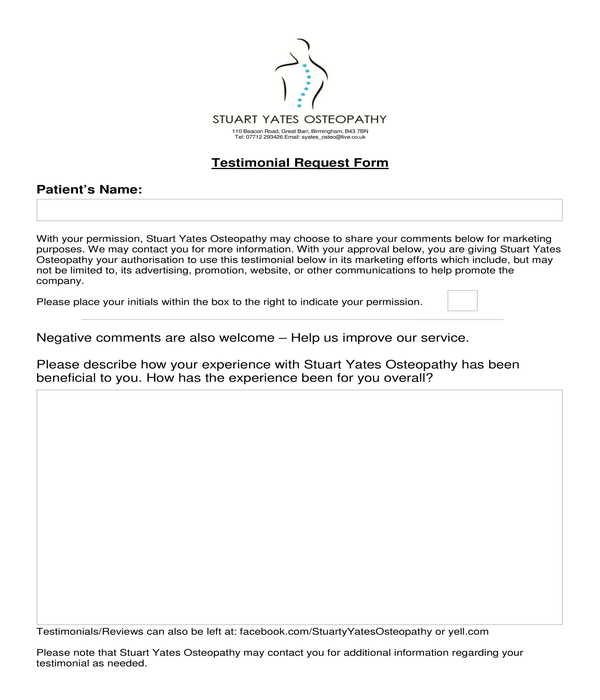 osteopathy testimonial request form