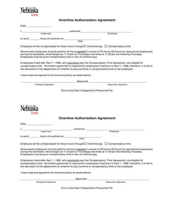 overtime authorization agreement form