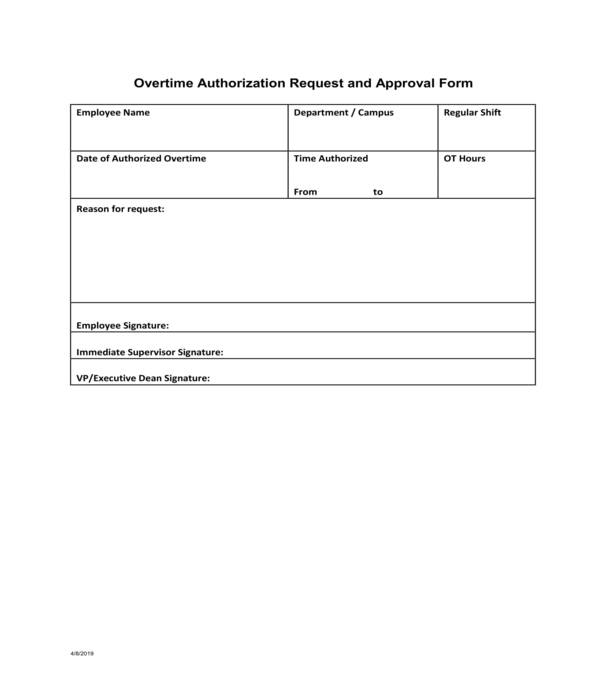overtime authorization request and approval form
