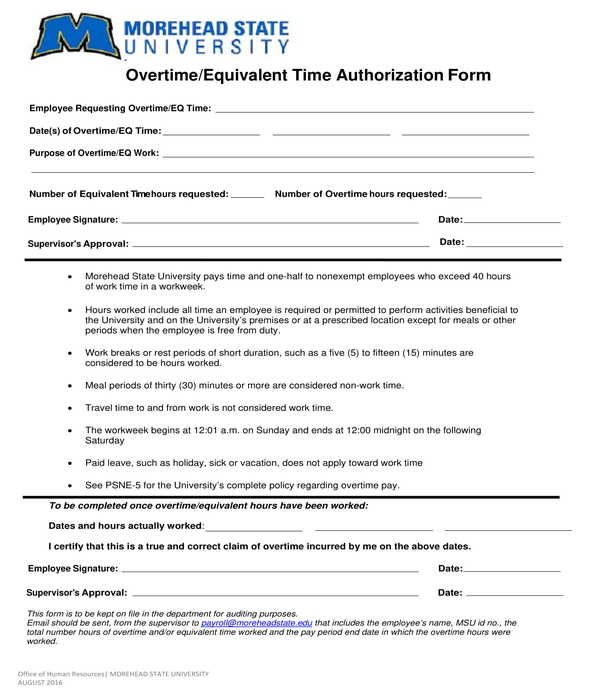 overtime equivalent time authorization form