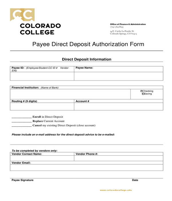 payee direct deposit authorization form