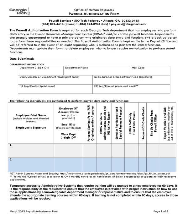 payroll authorization form sample