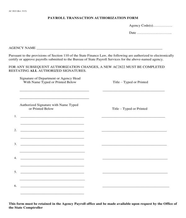 payroll transaction authorization form
