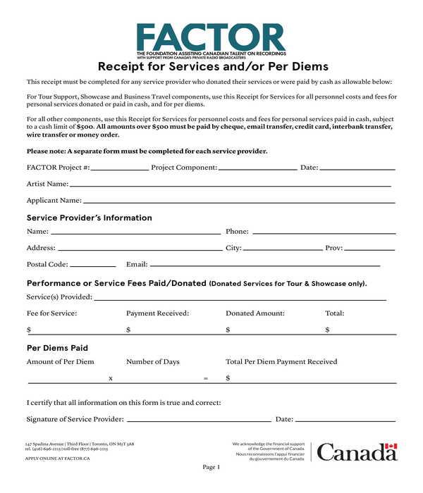 per diems services receipt form template