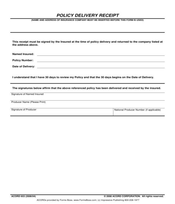 policy delivery receipt template form