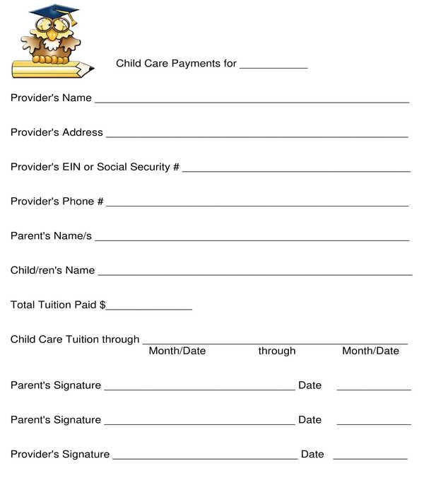 preschool daycare year end parent receipt form