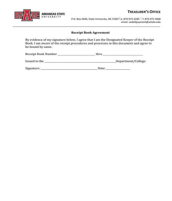 receipt book agreement form