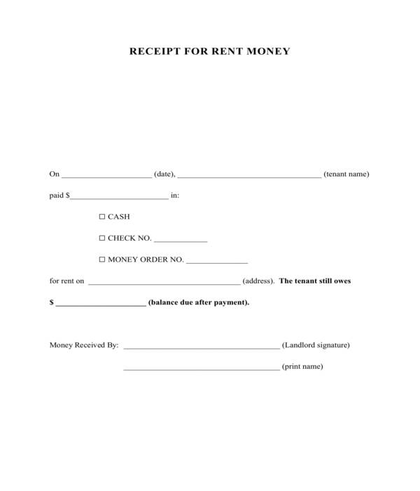 rent money receipt form template