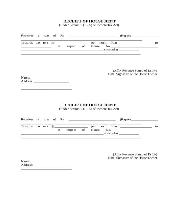 rent receipt form template in doc