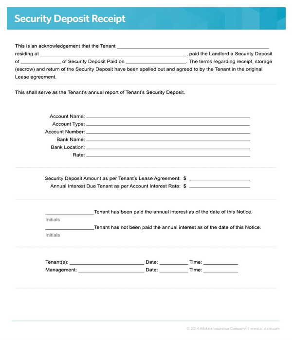 rental insurance security deposit receipt form template