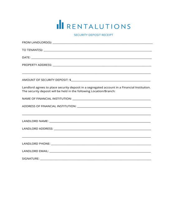 rental security deposit receipt form template