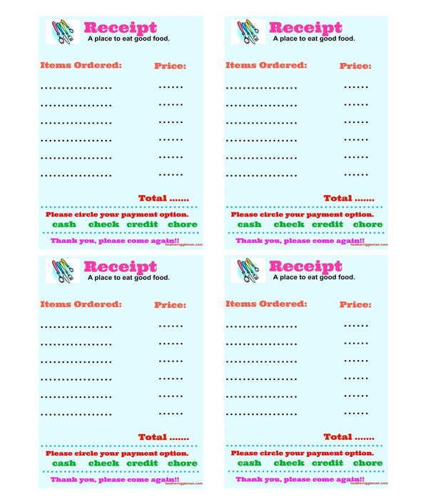 restaurant order receipt form template