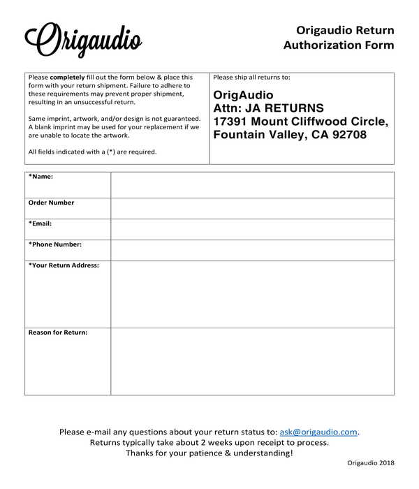 return authorization form sample