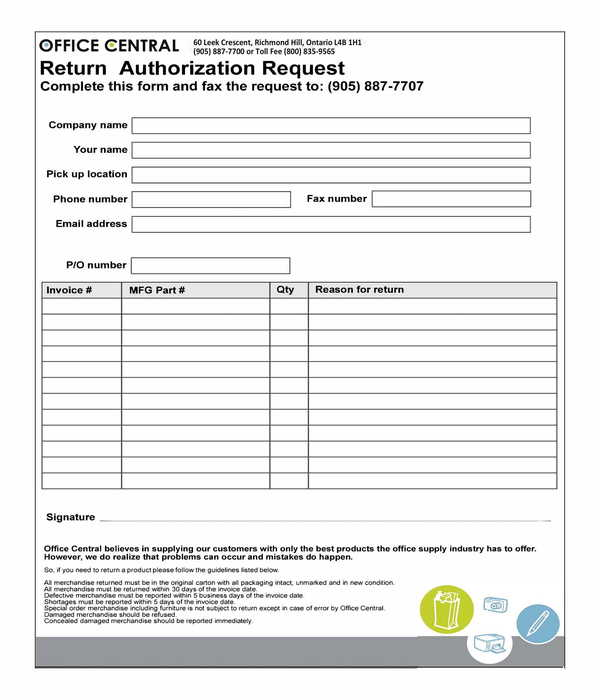 return authorization request form