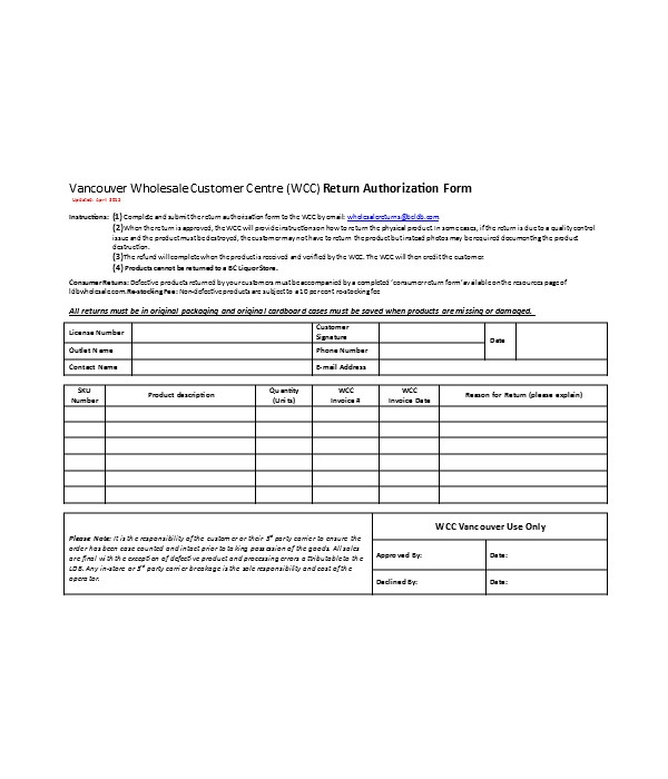 return request authorization form