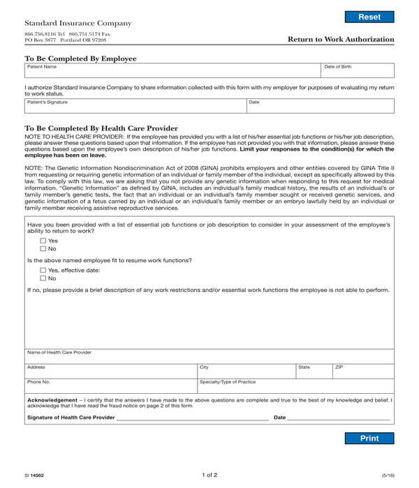return to work authorization form