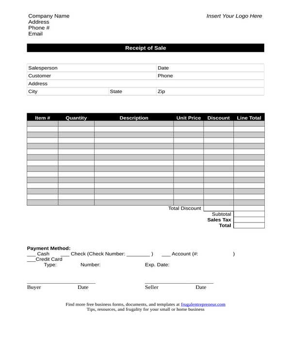 sales receipt form template in doc