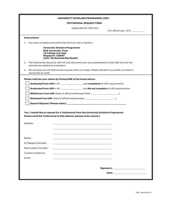 scholarship program testimonial request form