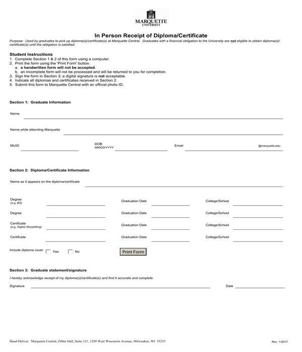 school diploma certificate in person receipt form
