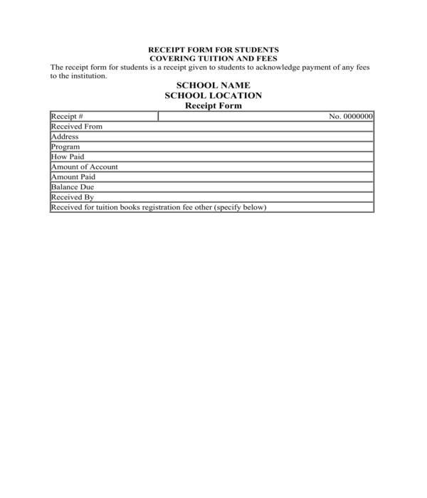 school student receipt form