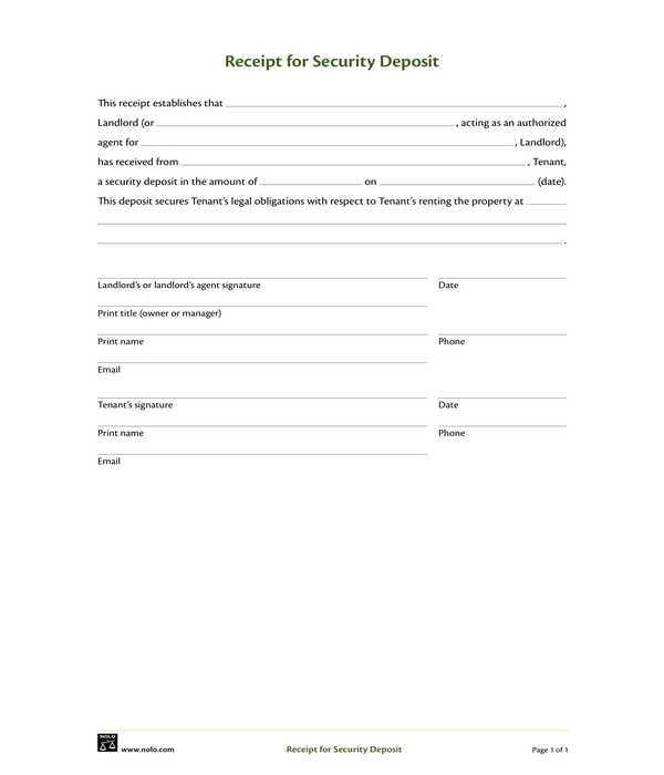 security deposit receipt form template sample