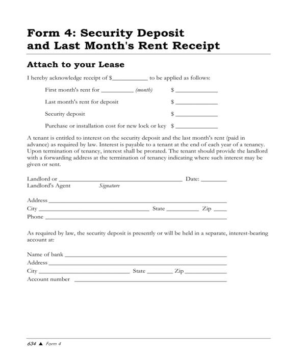 security deposit and rent receipt form template