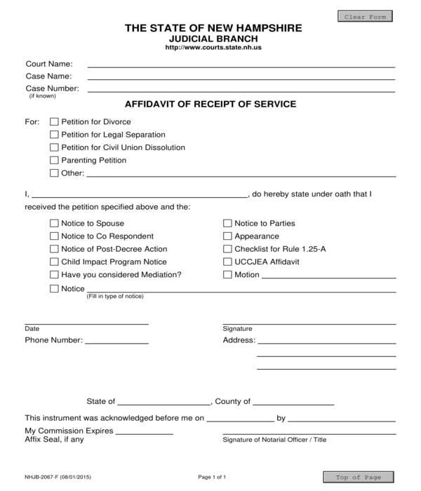 service receipt affidavit form template