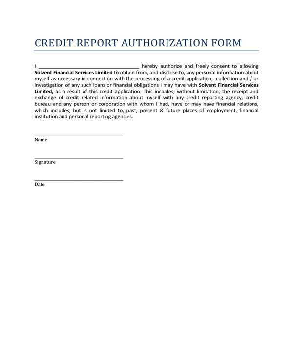 simple credit report authorization form